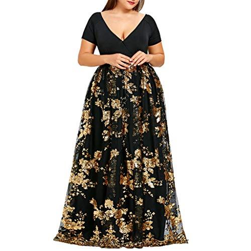 iYmitz Damen Übergröße Maxikleid Elegant V-Ausschnitt Kurzarm Kleider mit Blumen Pailletten Abend Party Netzkleid(Gold,EU-48/CN-2XL)