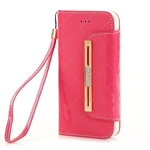 5,5 zoll iPhone 7 Plus Case, TechCode® Handy Case PU Leder Flip Phone Hülle Kette Handtasche Telefon Cover Schleife Style Strap Chain Metall Schäkel Eisenkette Series Bling Hülle Tasche Schutz Flip PU Hot Pink-A01