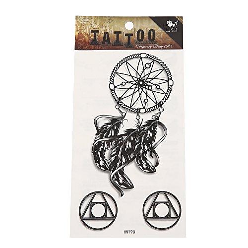 tattoo-schwarz-weiss-traumfanger-federn-geometrische-formen-muster-temporar-klebetattoos