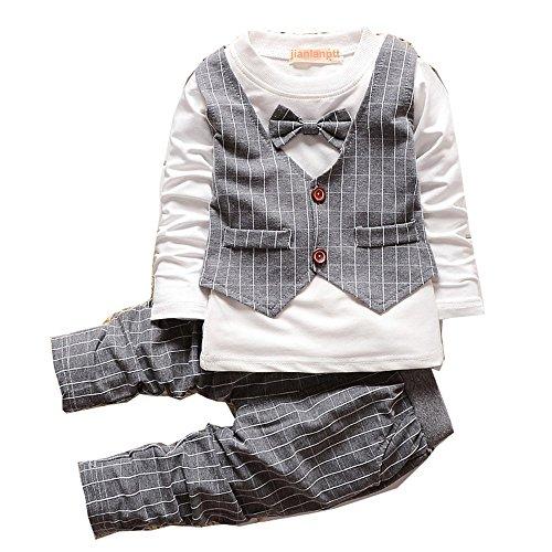 Set Shirt Bowknot Langarm Hemd + Hose Ausstattung Trenchcoat kleidung langarmshirt Kleinkind Gentlemen Outfit Herbst Hochzeit 1-4 Jahr (Kinder Outfit Für Die Hochzeit)