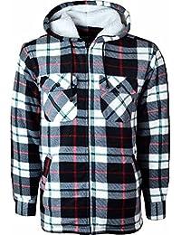 Hooded Fleece Padded Lumberjack Shirt Jacket Fur Lined Sherpa Winter Warm Work