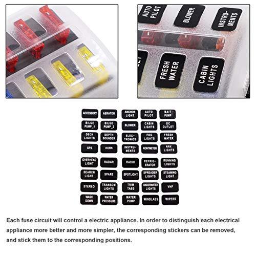 Garciadia Auto Änderung 1 Eingang und 6 Ausgang Sicherungskasten Mit Led-anzeige Basis Einsatz Typ Schraubklemmenblock Set 12-30 V (Farbe: Multicolor) -