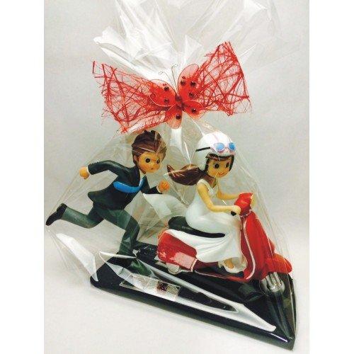 Figura boda GRANDE novios moto-vespa GRABADA figuras personalizadas