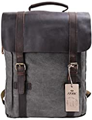 S-ZONE Updated Doppelte Reißverschluss Version Segeltuch Leder Canvas Vintage-Stil Unisex Junge Reisetasche Wandertasche 15 inch Laptop Rucksack für Studenten Freizeit Aktualisiert