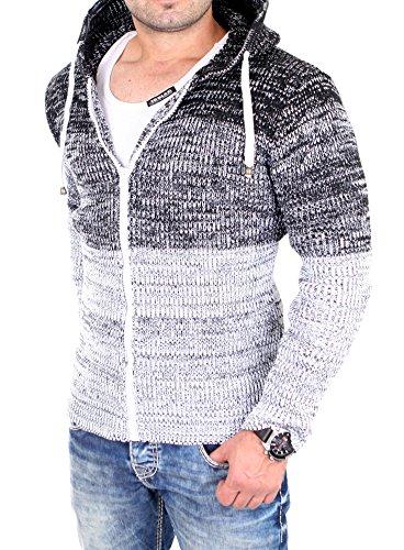 Tazzio Strickjacke Herren Colorblock Kapuzen Cardigan Jacke TZ-16485 Weiß