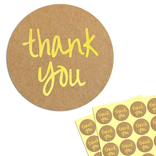 4cm Oro Circulo Gracias Thank You Kraft Pegatinas