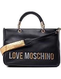 6539d3763 Love Moschino - Borsa Pu, Bolso de mano Mujer, Negro (Nero),