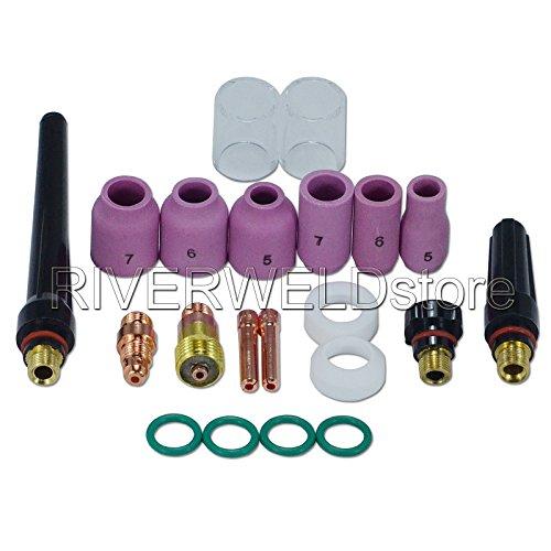17GL332 2,4mm WIG Stubby Gas Objektiv Kits # 10 Pyrex-Becher Keramikdüse Kit DB SR WP 17 18 26 WIG Schweißbrenner 21St - Miller Collet