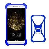 Lankashi Blau Silikon Schutz Tasche Hülle Case Ring Halter Ständ Cover Etui Handyhülle Handytasche Für Alcatel 8050D 9001D 5080X 5070D A5 LED A3 XL A7 U5 3C 3V 3X 1X 1C 5086 5044D 5047D Universal