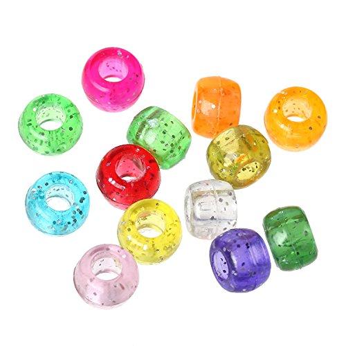 Sadingo Acrylperlen - Kunststoffperlen - Pony Perlen Trommel - mit Glitzer - 500 Stück - 9 x 6 mm - Perlen zum basteln -