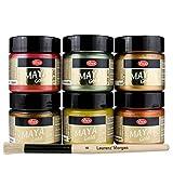 Maya Gold 6er Set (Indian Summer) inkl. LM Pinsel --- Viva Decor Metallic Effektfarbe, Metallglanz, Effekt Farbe Metall, Bastelfarbe, Dekofarbe