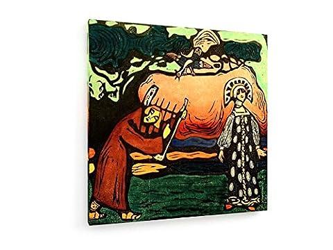 Wassily Kandinsky - Der Dulcimer-Spieler - 100x100 cm - Textil-Leinwandbild auf Keilrahmen - Wand-Bild - Kunst, Gemälde, Foto, Bild auf Leinwand - Alte Meister / (Russische Folklore Kostüme)