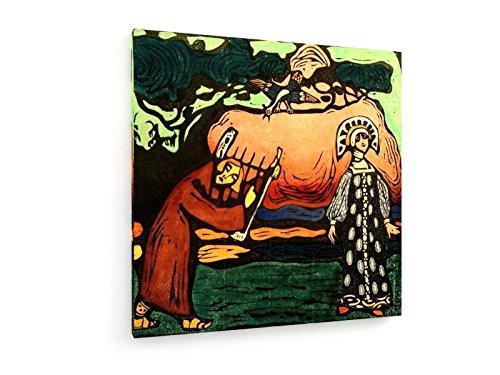 Wassily Kandinsky - Der Dulcimer-Spieler - 100x100 cm - Textil-Leinwandbild auf Keilrahmen - Wand-Bild - Kunst, Gemälde, Foto, Bild auf Leinwand - Alte Meister / (Der Kostüme Folklore Russischen)