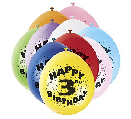 s 22,9 cm Latex Ballons, Happy Birthday sortiert 10 Stück (Kids Party Supplies)