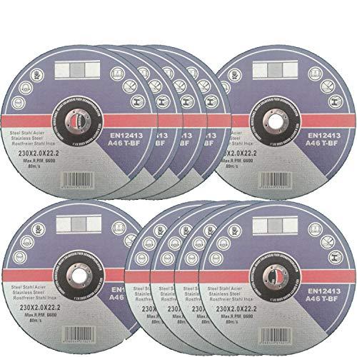 10 Stück Inox Trennscheiben 230 mm x 2 mm für Winkelschleifer Flexscheiben Edelstahl Metall (Edelstahl Ofenrohr-8)
