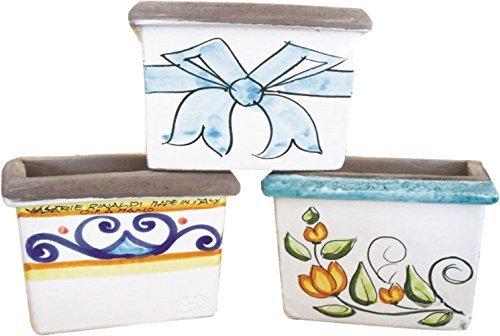 Vasi cofanetto (2 pezzi) in ceramica artistica di vietri, dipinto a mano made in italy; lunghezza cm. 20, altezza cm. 17, larghezza cm. 20.
