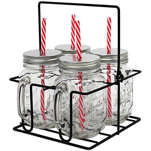 carafes avec couvercle, pailles et panier métallique Vintage Coconut (pack de 4)