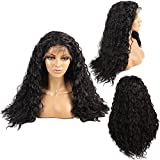Ivan Cosmetic 6 inch Space Part Loose Curly Wig 24 inch Dark Brown Synthetic Lace Front Kanekalon Fiber Heat Resistant HIGH Density Wigs With Baby Hair Pre Plucked Hair For All Skins Women.