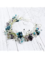 Coiffure de couronne de jeune fille de jeune mariée, ornements de cheveux doux faits à la main, photographie de bord de mer accessoires de robe de mariage de vacances