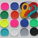 SchwabMarken 100 Einkaufswagenchips EKW2 Pfandmarken Wertmarken Farbe Bunt gemischt, Randmarken + 3 Chiphalter für Schlüsselbund