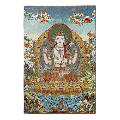 Prime Feng Shui Seiden-Stickerei Tibetische Thangka mit grünem Tara/Kashgari Buddha/Vier Armen Kwan Yin Avalokitesvara Wandbehang für Heimdekor, Thangka Meditation Kt038