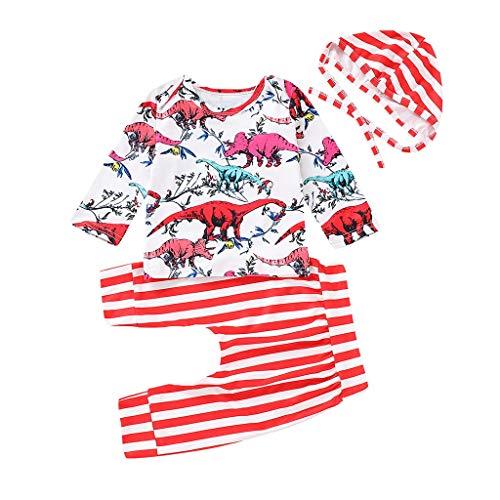 MRULIC Baby Mädchen oder Jungs Floral Strampler Tops Geraffte Hose Lange Hosen Outfits Anzug Overall Strampler Zweiteiliger Schlafanzug mit Hut(Rot,Höhe:75-80CM)