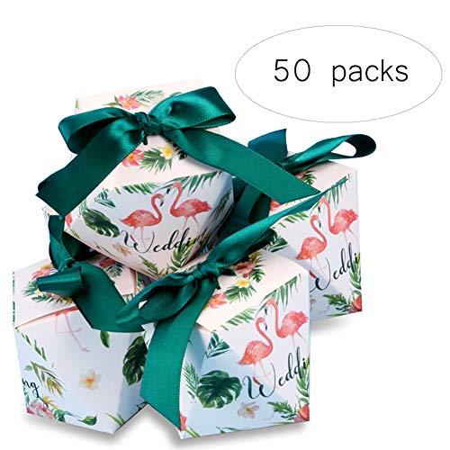 YKQ WS 50 Packs Halloween Schokolade Oreo Süßigkeitskästen Karton Green Ribbon für Hochzeit