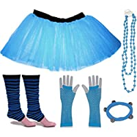 A-Express Childrens Kids Neon Tutu Skirt Stripe Legwarmers Gloves Necklace UV Fancy Dress Party Costumes Set