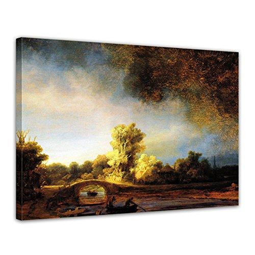 Kunstdruck - Rembrandt - Landschaft mit Steinbrücke - 70x50cm einteilig - Alte Meister - Leinwandbilder - Bilder als Leinwanddruck - Bild auf Leinwand - Wandbild von Bilderdepot24 Rembrandt-bilder