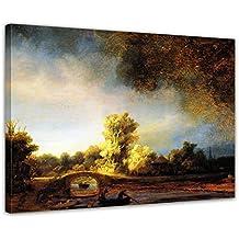 """Bilderdepot24 imagen lienzo foto Rembrandt - Viejo Maestro """"Paisaje con puente de piedra"""" 80x60 cm - totalmente enmarcado, directamente del fabricante"""
