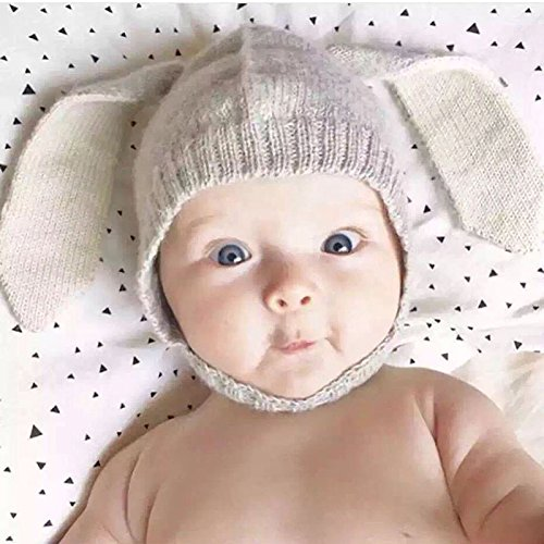 27% OFF on Generic Gray   Baby hat child hat rabbit ear knit cap baby  winter wool hat JRR037 on Amazon  a1af6547d06