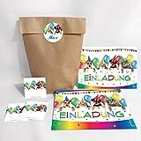 12-er Set Einladungskarten Kindergeburtstag + Umschläge, Tüten, Aufkleber / für Mädchen und Jungen
