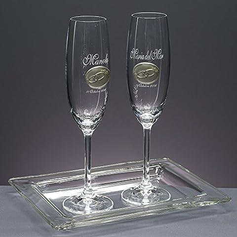 'Set/Confezione di 2calici da champagne, nozze d' argento/oro, anniversari + vassoio di vetro, Collezione
