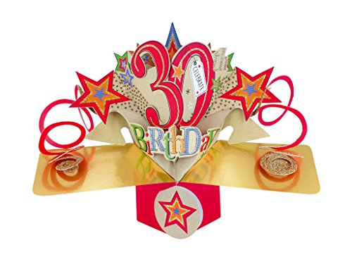 Pop Up 30th Birthday Card. Suprise the birthday girl or boy with this eye-catching card.