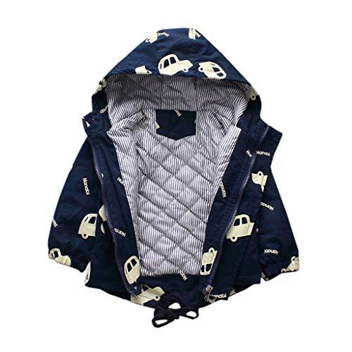 Zhen+ Baby Junge Mädchen Mantel aus Baumwolle Winter Fleece Jacke mit Kapuze Verdicken/Nicht Verdicken Warme Coat Auto Druck Winddicht Outwear für 1-5 Jahre Kleinkinder