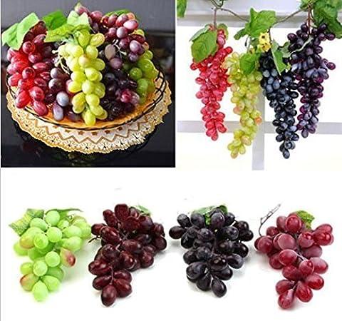 Urgrace 4Bunchs de faux Noir, Rouge, Vert et Violet l 85pcs raisins en plastique décoratif Faux Fruits Nourriture de vos Maison Fête de mariage Décor de jardin Mini Simulation Fruits Photographie Props