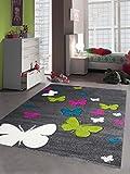 Kinderteppich Mädchen Schmetterling pink weiss grau grün türkis Größe 120x170 cm