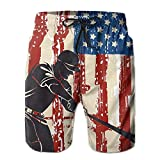 Photo de KAKALINQ Men American Flag Baseball Player Beach Shorts Swimming Trunks Cargo Shorts par KAKALINQ