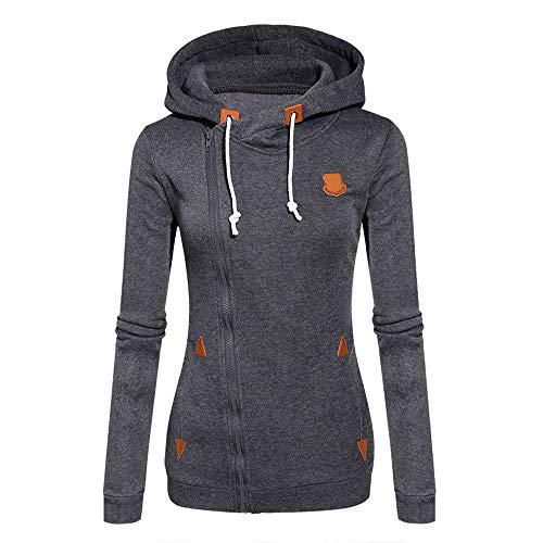 Kapuzenpullover Sweatshirts ZHWM Women Autumn&Winter Side Zip Sweatshirt Casual Long Sleeve Hoodies Ladies Coat,XXL Side-zip Pullover