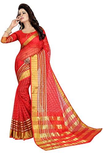 PerfectBlue Cotton Saree with Blouse Piece (I-00087_Red_Free Size)