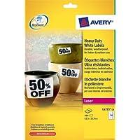 Avery Etichette in Poliestere Bianco Ultraresistenti, 63,5x33,9mm, 24 Etichette per Foglio, 20 Fogli, Stampanti Laser