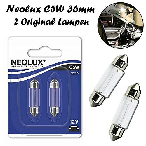 2x Neolux C5W 36mm 12V N239-02B Standard Innenbeleuchtung - Kofferraum Handschuhfach Kennzeichen Tür Fußraum Leselampen Lizenz - Ersatz Halogen Soffite Lampe E-geprüft