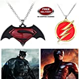 "(2 Pcs SET) - BATMAN SUPERMAN DAWN OF JUSTICE LOGO (BLACK METAL) & FLASH LOGO (RED/GOLD) IMPORTED PENDANTS WITH CHAIN. LADY HAWK DESIGNER SERIES 2018. ❤ ALSO CHECK FOR LATEST ARRIVALS OF ""LADY HAWK"" BRAND PRODUCTS - NOW LISTED FOR SAL"