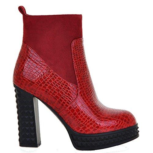 ENMAYER Femmes Nouvelle Mode PU Matériel et Nubuck Round Toe Plate-forme Talons Hauts Bottes avec Fermeture à Glissière Rouge