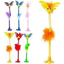 6x Fluffy uem novedad flores peine cabeza bolígrafos con diseño de aves