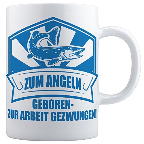 Beschdstoff / Angler Geschenke Tasse 1 Stück in weiß/blau. Zum Angeln geboren. / Größe Kaffeetasse: 330ml