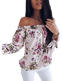 195452d48e74 Boutiquefeel Damen Schulterfreie Shirring Blumen Bedruckte Lose Bluse