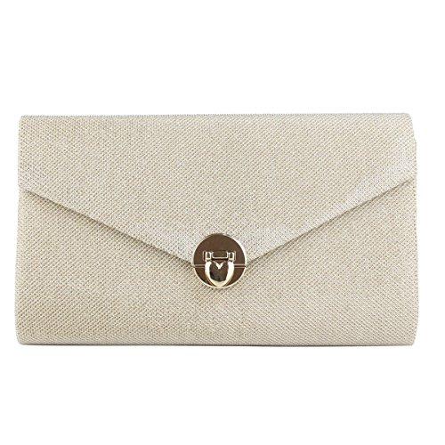 Damenhandtasche Art Und Weise Einfache Farbverkopplung Mädchen PU-Umschlag-Zertifikat Tasche Gold