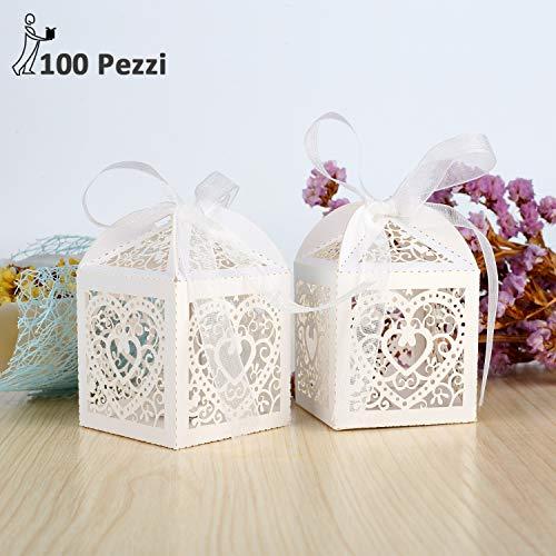 Ghb 100 x carta scatole bomboniera scatoline per confetti portaconfetti caramelle con 100 pcs nastro per feste, regalo, battesimo, matrimonio, compleanno ecc - bianco