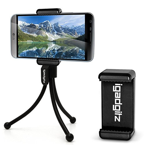 igadgitz Negro flexibles Mini Trípode de Mesa con Clip de bolsillo + Soporte Smartphone Adaptador Premium para LG K4, G3, G4, G5, Nexus 5X, V10, G4c, G4 Beat, G Flex, Optimum G Pro